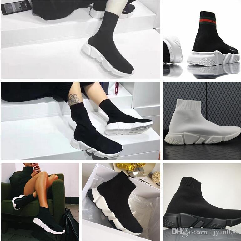 Hot Sale 2017 Fashion Speed sock Casual Shoes Mens Womens Speed Mid Slip-on sneakers Trainer Running Shoes Stretch Mesh High Top White Black buy cheap best prices ZbX4ySsPcm