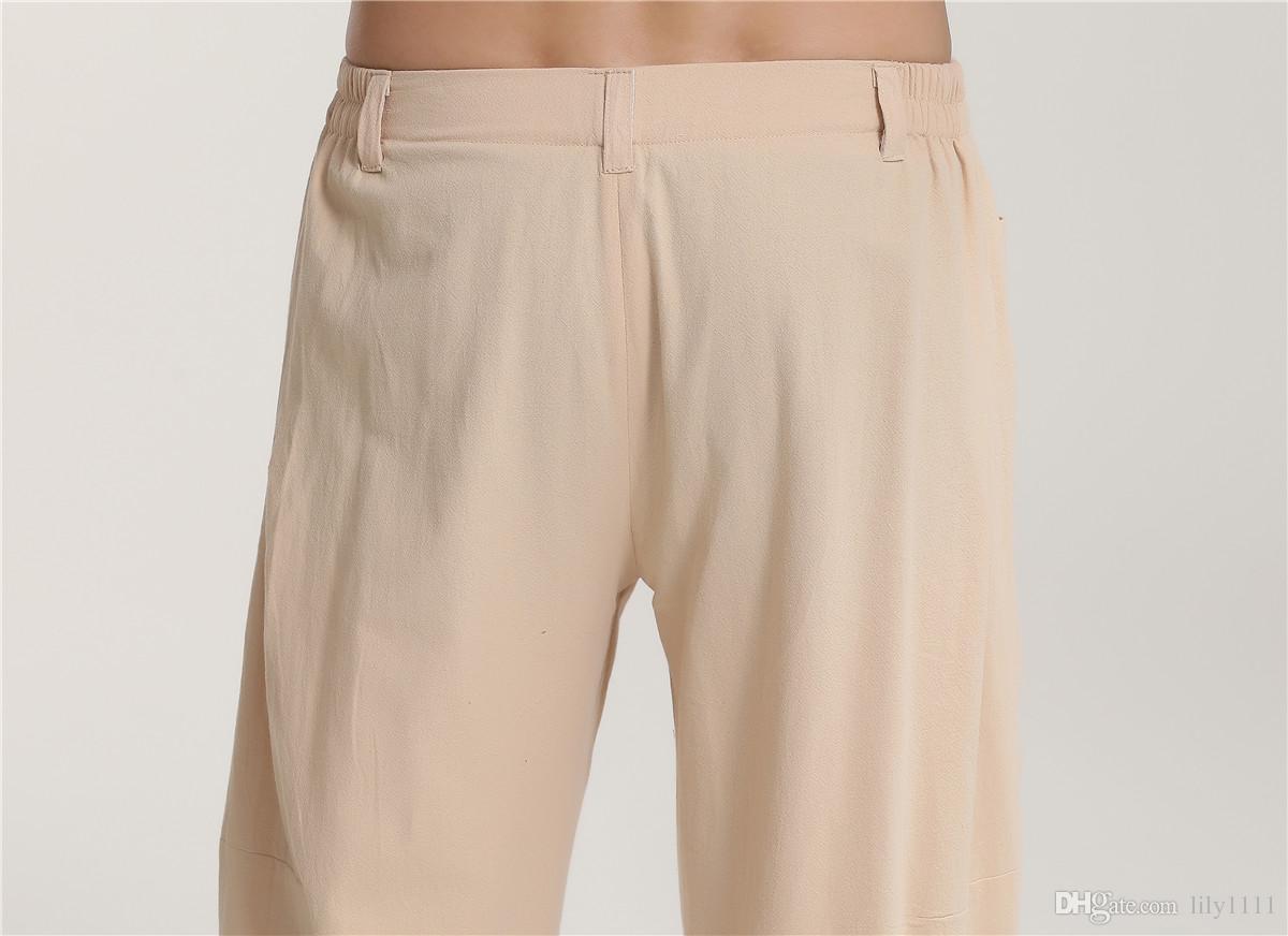 Shanghai Hikaye geleneksel çin giyim erkek Keten Pantolon dövüş sanatları Adam Pantolon tai chi Kung fu Pantolon Için Adam