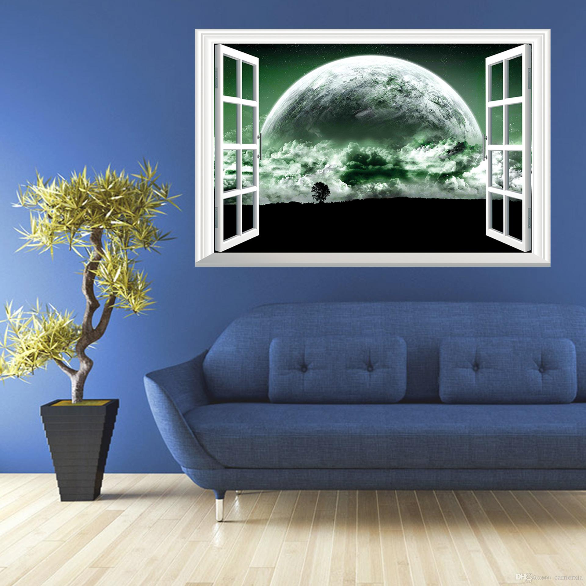 3d superstars fake windows wall stickers home decoration 5070cm 3d superstars fake windows wall stickers home decoration 5070cm pvc uninjurious wall decal mural for kids decals for home walls decals for the home from amipublicfo Images
