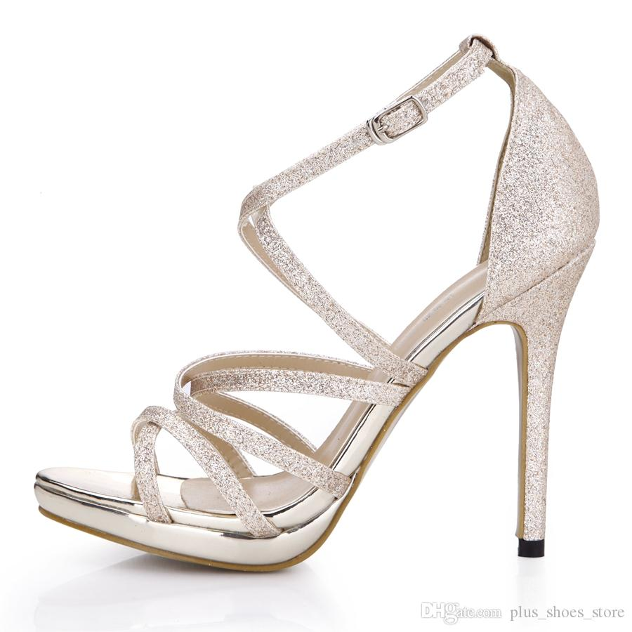 Women Sandals Shoes Women Sandal 2017 Real Image Party Shoes High Heels Buckle Strap Silver Gold Bridal Wedding Shoes Cheap Modest