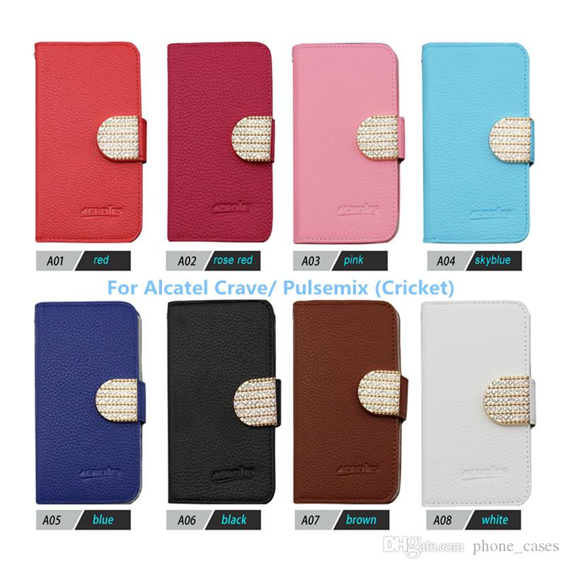 Wallet Flip Bling PU Leather Case For LG Harmony (Cricket) For Alcatel  Crave/ Pulsemix (Cricket) Phone Bag Rhinestone Flip Cover With Card