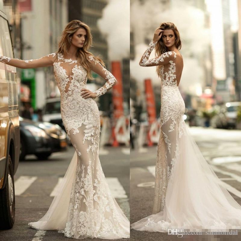 Berta 2017 mermaid crystal wedding dresses long sleeve for Long sleeve mermaid wedding dresses 2017