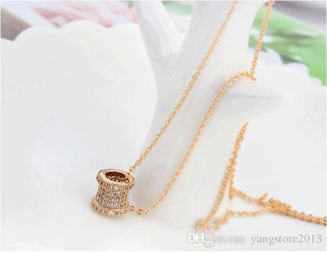 Drum Shape Hollow Star Flowers Slide CZ Diamond Paved Two Sides Pendant Necklaces Women 18K Rose gold Plated Jewelry UN0107