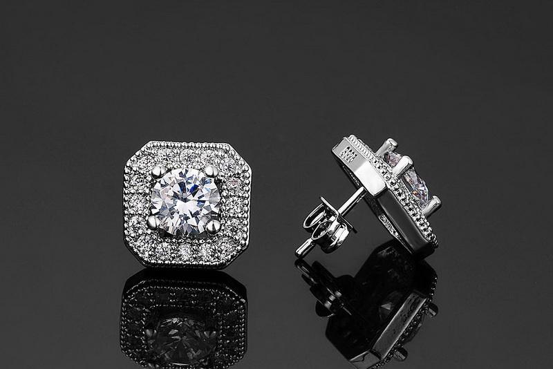 Iutopian Brand Valentine's Day Gift Elegant Square Stud Earrings Brincos For Women Anti Allergy With Top Quality Zirconia #81900