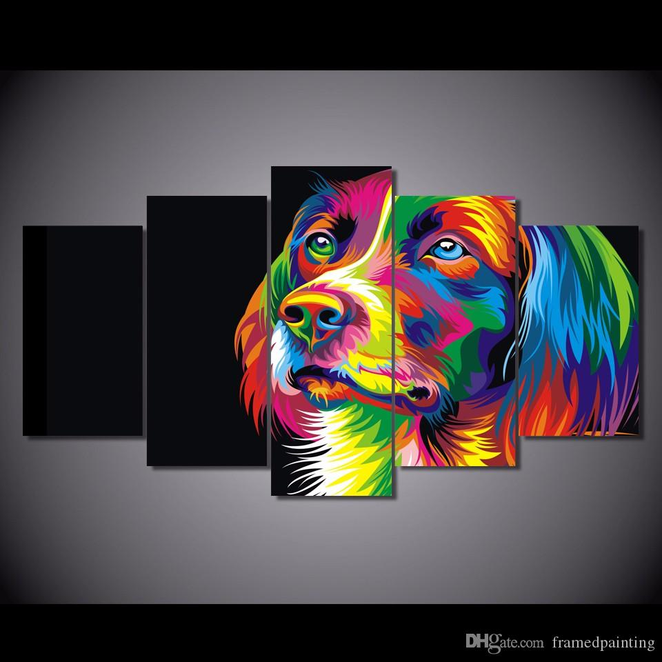 2018 framed hd printed colorful dog design picture wall - Pinturas baratas online ...