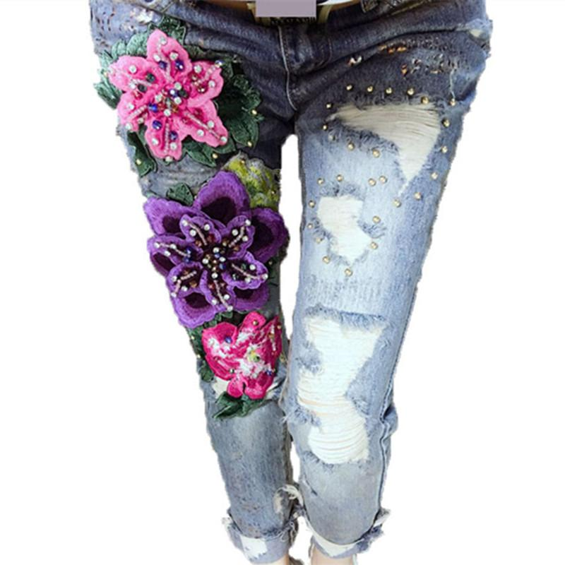 2018 wholesale 3d flowers style women denim jeans flower skinny 2018 wholesale 3d flowers style women denim jeans flower skinny jeans pencil pants with embroidery embroidered flares lady ripped trousers from edwiin04 ccuart Images