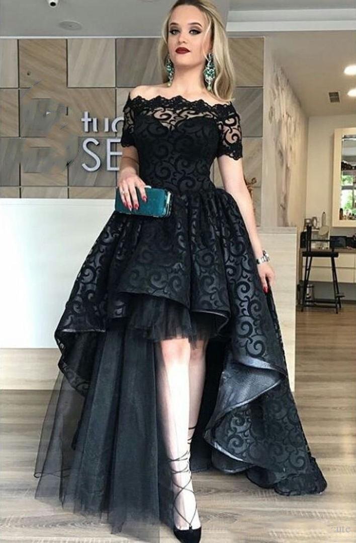 Vintage Lace Weddings Guest Dress Black Evening Gown Bateau Neck HI Lo Prom  Dresses Cheap 2018 Off Shoulder Party Sexy Gowns For Womens Size 20 Evening  ... 362555099