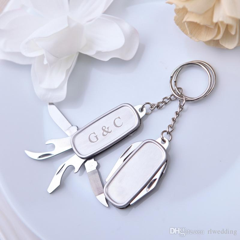 Personalized Wedding Party Gift For Guests Multifunctional Knife Keychain Favor With Box regalos boda bodas y eventos