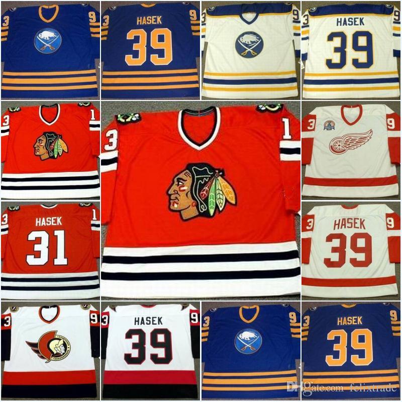 2019 Mens  39 Dominik Hasek Jersey Buffalo Sabres 1994 Chicago Blackhawks  1992 Detroit Red Wings 2002 Ottawa Senators 2005 Hockey Jerseys From  Felixtrade e5b799b36