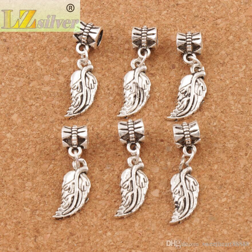 Feuilles souples Feuille Big Holes Beads / 29.8x8.4mm Argent Antique Fit Européenne Bracelets Bracelets B362