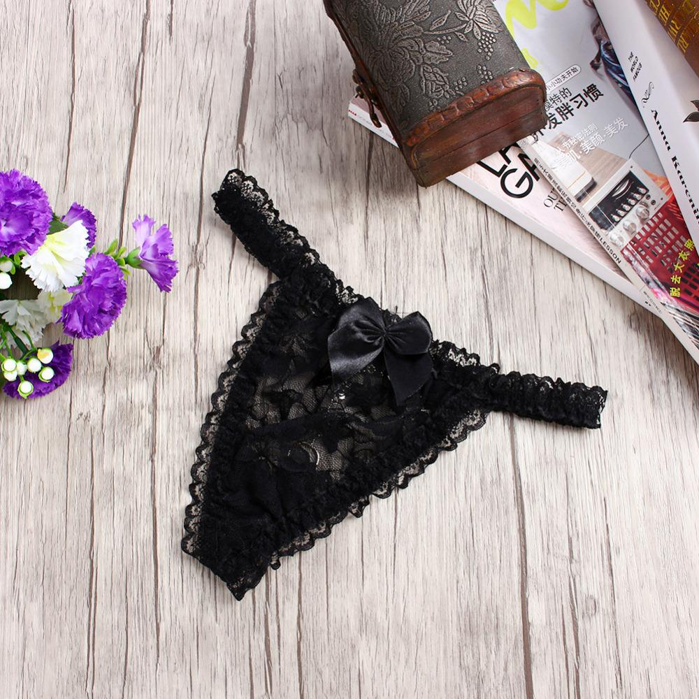 New Style G-string Women Sexy Metal Buckle Bowknot Panties Lace V-string Knickers Briefs Thongs Lingerie Underwear Intimates
