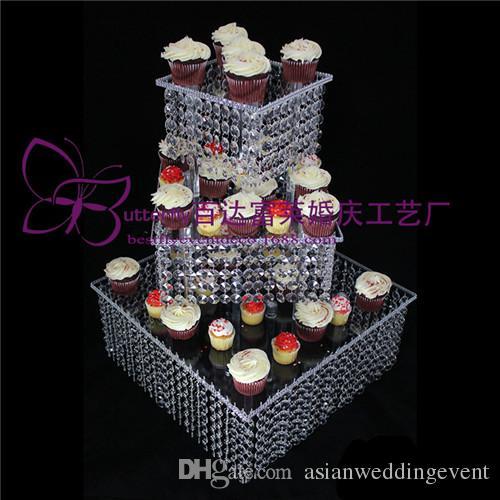 3 Camada De Cristal Bolo Stand Praça Acrílico cristal lustre Cupcake stand Festa de Aniversário de Casamento Ferramentas de Exibição