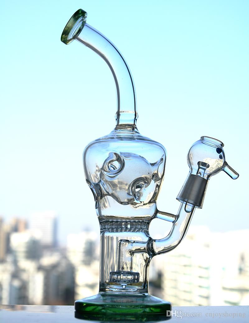 Fab Egg Bong Thick Glass Water Bongs with Holes Beaker Bongs Green Fab Egg Glass Water Pipe Honeycomb Swiss perc