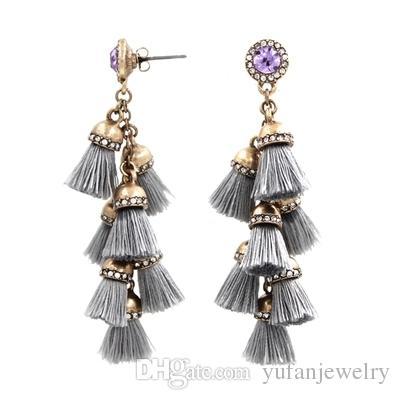 Spring new style tassel diamond earrings Dangle & Chandelier high quality Russian gold earring by DHL