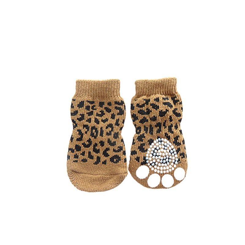 4 pz / set cucciolo di cucciolo di cucciolo calze animali domestici antiscivolo stampa skid calda a maglia calzini morbidi morbidi a maglia calda