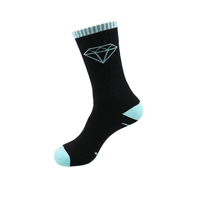 2017 de Alta Calidad de Los Hombres Calcetines Largos de la Marca Diamante Classic Skateboard Compresión Terry Algodón Masculino Casual Cesta Meias