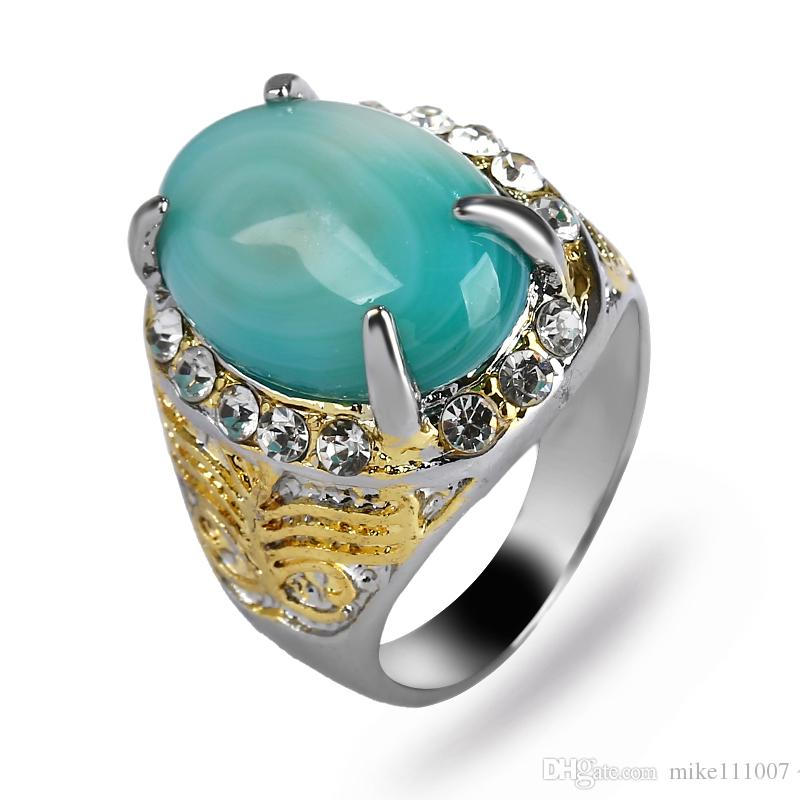 Double Color Gold And Silver Plated Ring for Men Inlaied with Green ...
