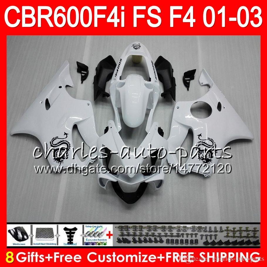 8 Regalos es para HONDA CBR 600 F4i 01-03 CBR600FS FS 28HM8 blanco brillante CBR600 F4i 2001 2002 2003 CBR 600F4i CBR600F4i 01 02 03 Carenado