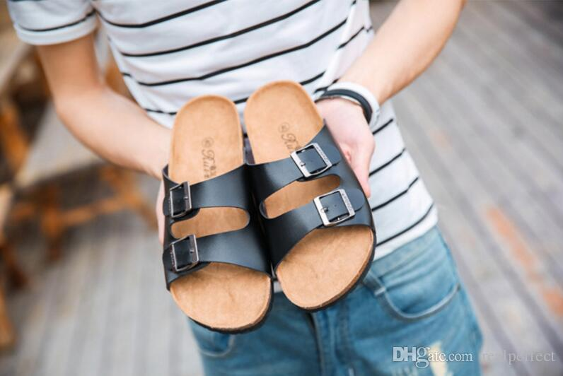 4d6f1349e Easy Fashion Men Sandals Shoes Flip Flops Cork Summer Shoes Fashion Cheap  Flat Heel Women Slippers Red Shoes Wedge Sandals From Realperfect