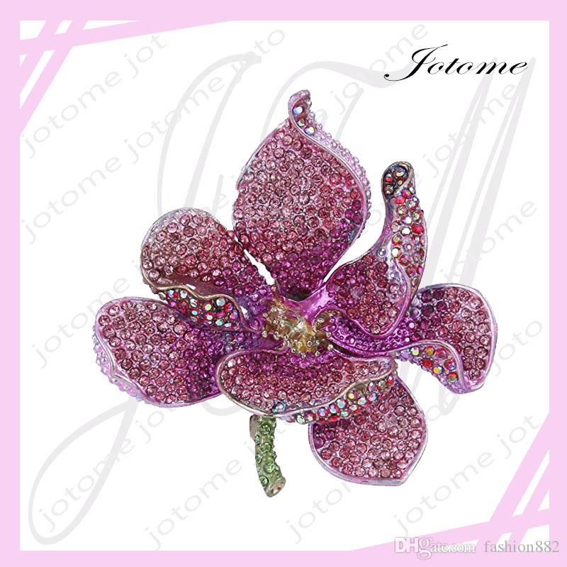 2017 Women's Austrian Crystal Valentines' Gifts Orchid Flower Petal Brooch for lover, girlfriend, mother