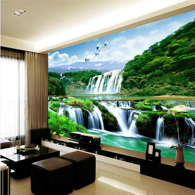 Wholesale Custom Photo Wall Mural 3d Wallpaper Luxury Quality HD Crane Falls Natural Beauty Of The Landscape Large Shells