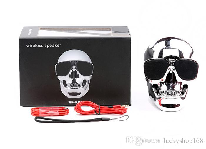 Portable Skull Bluetooth Speakers Skull Head Ghost Wireless Stereo Subwoofer Mega Bass 3D Stereo Hand-free Audio Player