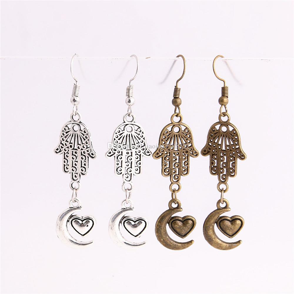 Metal Alloy Zinc Hamsa Hand Connector Moon Heart Pendant Charm Drop Earing Diy Jewelry Making C0746
