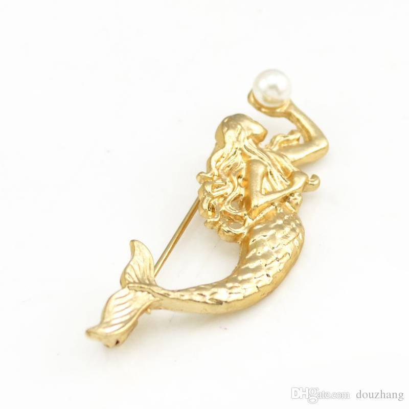 Broches De Sirène De Mode Or-ton Simulé Perle Sea-maid Broches Broches Accessoire Femmes Bijoux En Gros