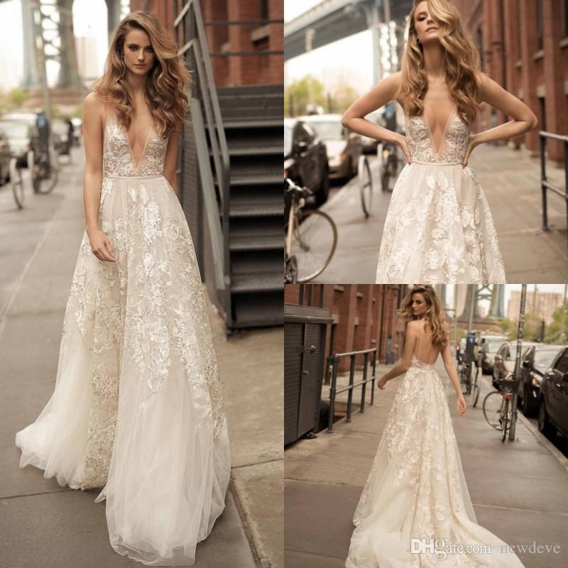 8c82f67f867 Discount Berta Sexy Deep V Neck Plus Size Wedding Dress Lace Appliques  Sheer Backless Sleeveless Cheap Wedding Gowns Civil Wedding Dresses Cream  Wedding ...