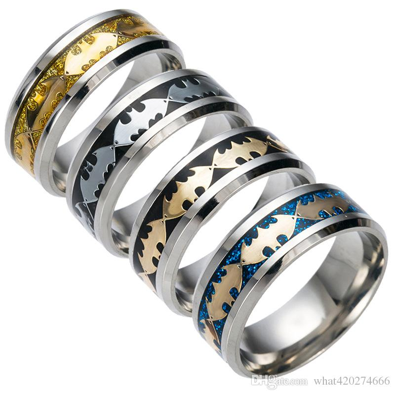 New Fashion Mens Or Boys Black Batman Symbol Gold Blue Titanium Stainless Steel Rings For Men Women Party Drop Ship