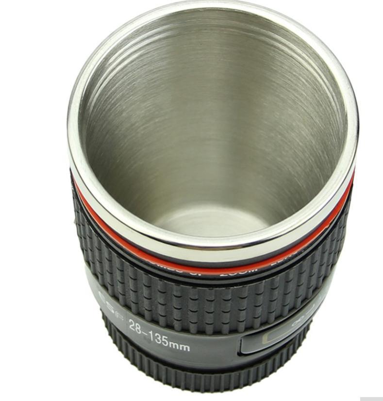 Neue Kamera Objektiv Kaffeetasse Reisebecher Edelstahl Schwarz Caniam EF 28-135mm