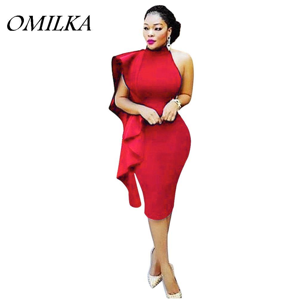 4efc8d0b436 OMILKA 2017 Summer Women Sleeveless Halter Backless Bodycon Dress Sexy  Black White Blue Red Night Club Party Ruffle Midi Dress