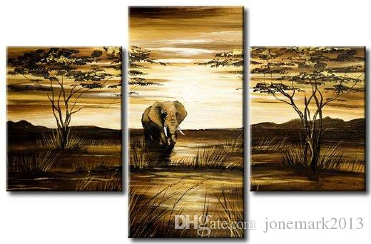3 Panel Canvas Abstract Art Pure hand-made ! Large OIL PAINTING Wall Decor - Elephant no framed painting