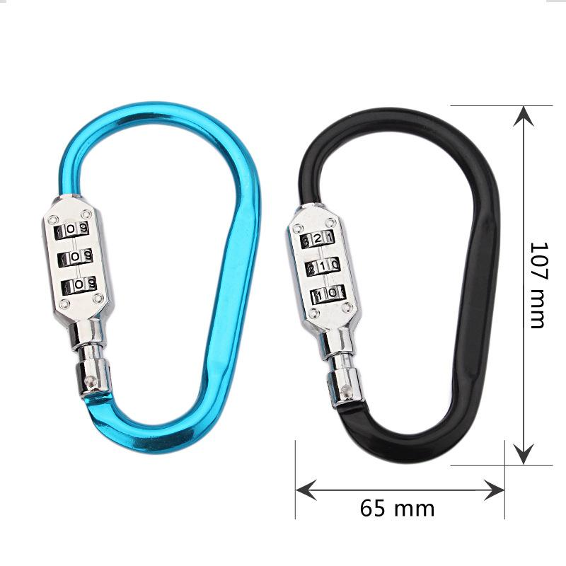 Liga Mosquetão Mosquetão-Gancho Mosquetão Fivela Clipe Chaveiro Titular Chave com 3 Dígitos de Combinação de Bloqueio para Camping Caminhadas Corda Escalada