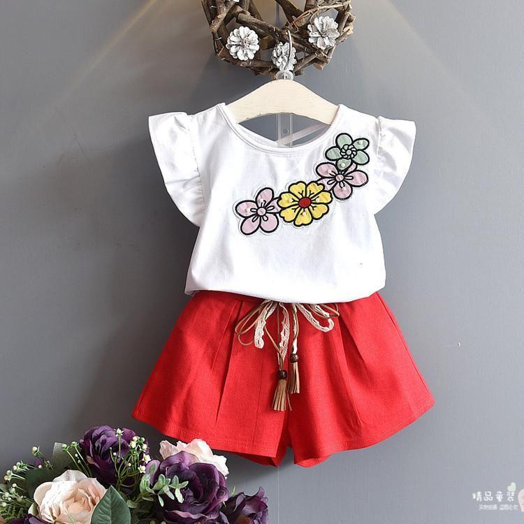 77efa0dfa47c58 Summer New Girl Sets Breathable Network Fly Sleeve Shirt T-shirt ...