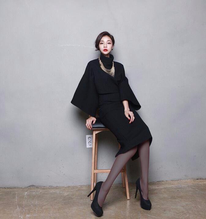 745e5212df4e9 2019 Korean Set Women Turtleneck Long Batwing Sleeve Crop Top And Skirt Set  Shirt + Split Wrap Hip Pencil Skirt Conjuntos From Kateyang