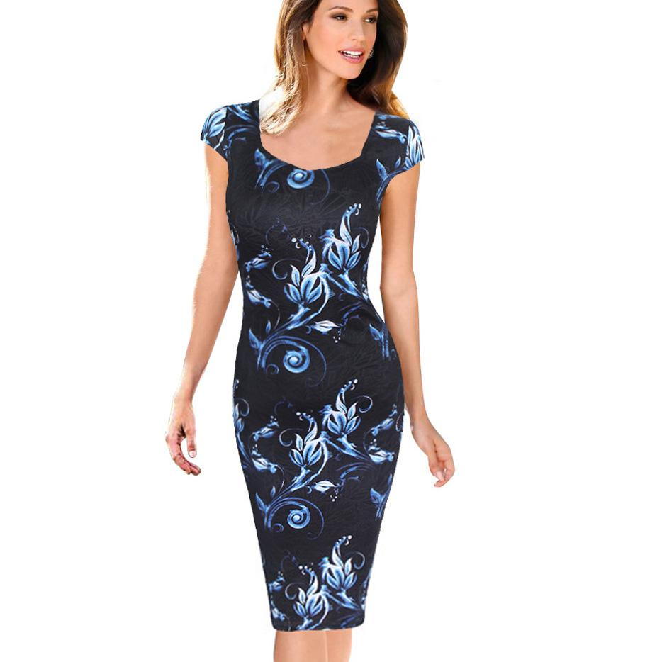 f3a324b33a8fa Free Shipping Fashion Women Dress Elegant Floral Print Cap Sleeve Plus Size  Dresses Work Business Casual Party Vestidos 004-1