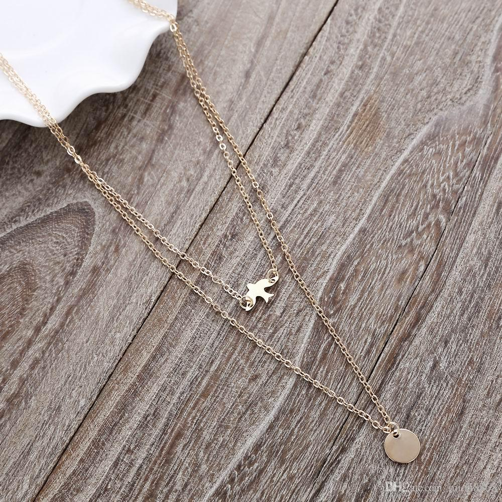 New Simple Coin Dove Bird Pendant Necklace Jewelry Cute Tiny Multilayer Pendant Necklace Women Clavicle Chain Simple Necklace