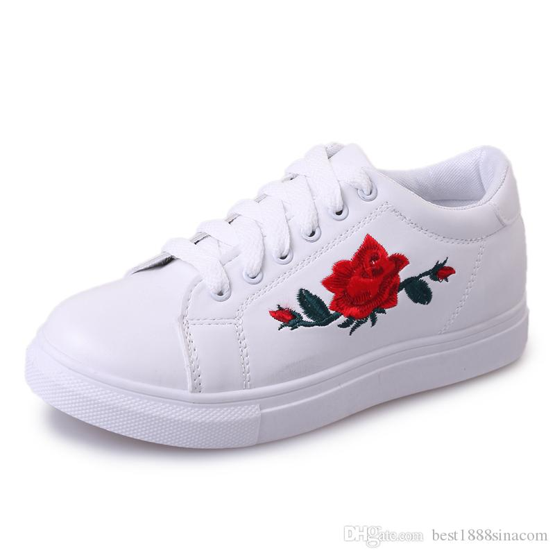 f2dfdefc9fa Spring   Autumn Women s Hand Embroidery Rose White Shoes Female Flat ...