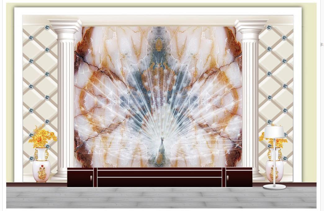3D Wallpaper für Zimmer Hochwertige Marmor Pfau offenen Bildschirm TV Hintergrund angepasste Tapeten für Wände benutzerdefinierte 3D Wallpaper