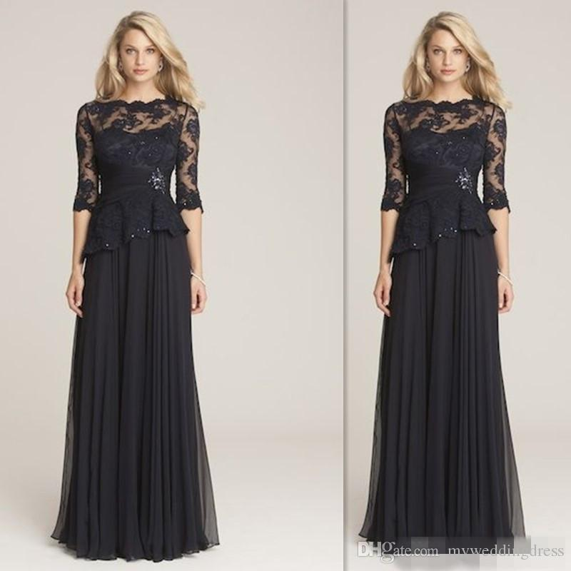 Cheap Wedding Dresses Mn: Retro Black Lace Mother Of Bride Dresses 2017 Country Long