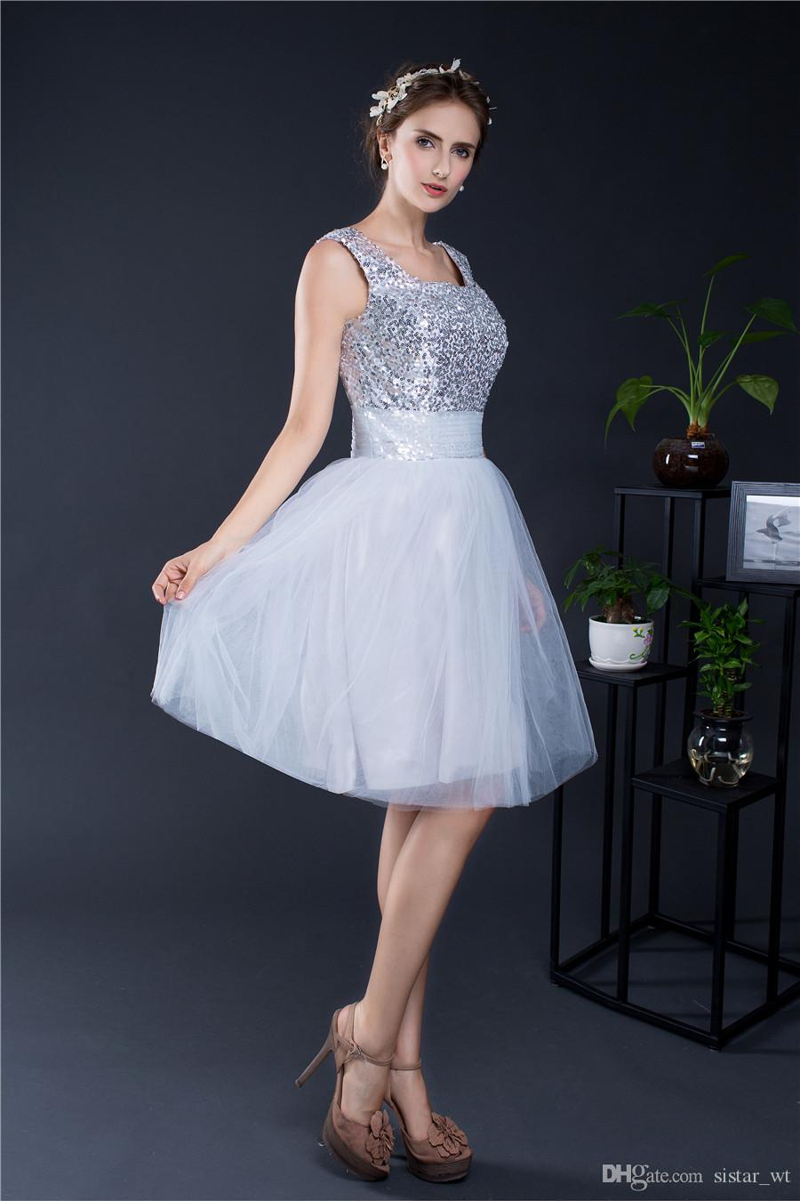 2018 Charming Sexy Sequins Silver Short Women Cocktail Gowns Lady Big Girls Back to School Homecoming Prom Party Evening Mini Dresses