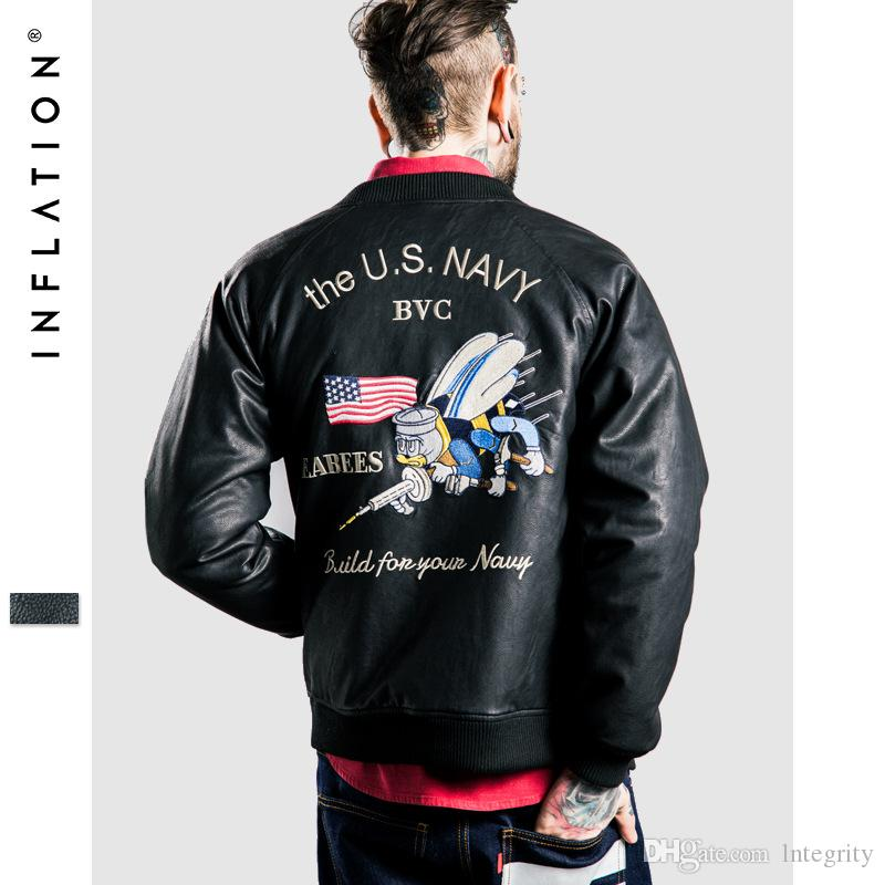New The Us Navy Bvc Us Army Bee Embroidered Men 'S Leather Jacket ...