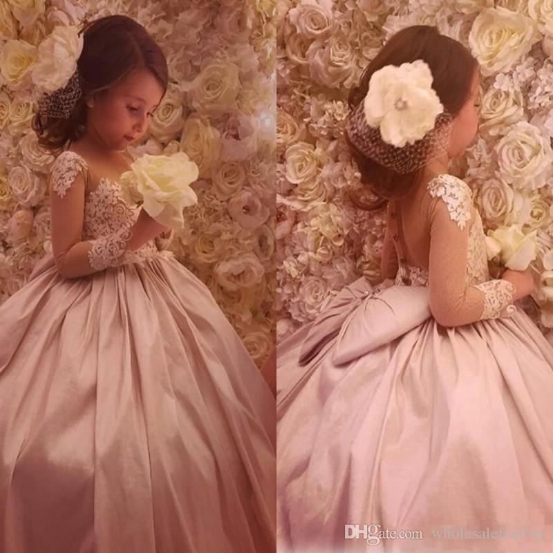 2017 Lovely Cheap Flower Girl\'S Dresses Sheer Neck Ball Gown Satin ...