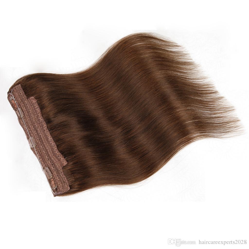 ELIBESS HAIR-Top qualité 14 pouces-26 pouces Halo Extension de cheveux réel brésilien vierge de cheveux humains Fish Line Extensions de cheveux