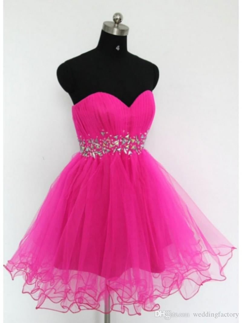 Hot Pink Cheap Short Homecoming Dresses Ruched Tulle Sweetheart Sleeveless Crystals Waist Corset Back Homecoming Dress Party Gowns