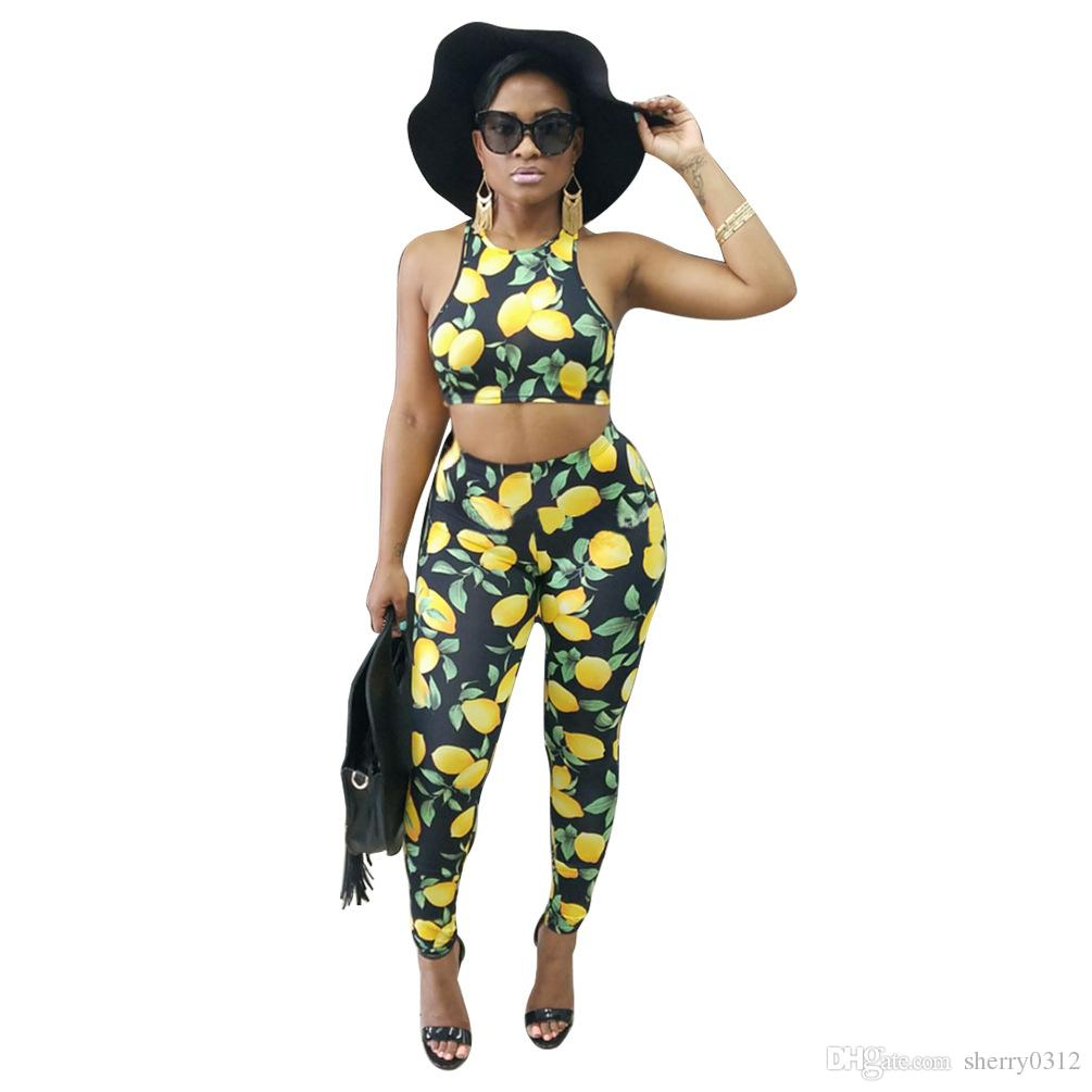 66fb1cd5d55b0d 2019 2017 Fashion Women Rompers 2 Two Pieces Sets Lemon Printing Sleeveless  Short Tank Top + Long Pants Outfits Tracksuit Sexy Nightclub Jumpsuit From  ...