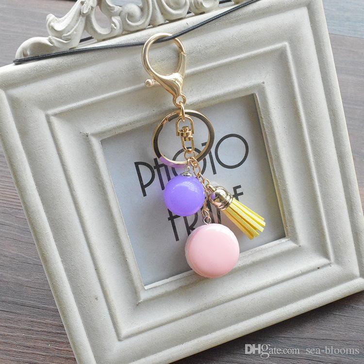 7 Styles Cute Acrylic Cake Candy Beaded Tassel Keychain Purse Bag Buckle Handbag Pendant Car Keyring Holder Women Jewelry B790Q