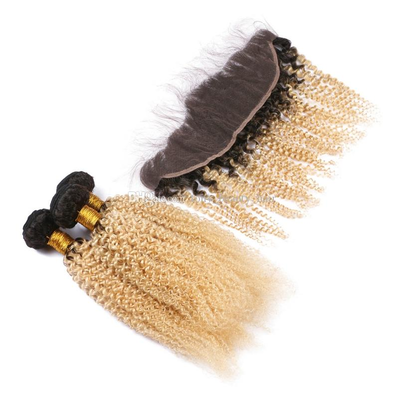 Two Tone 1B 613 Dark Root Ombre Virgin Human Hair Bundles Afro Kinky Curly With 13*4 Blonde Ear to Ear Lace Frontal Closure