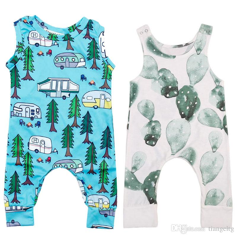 a13e57e12 2019 Baby Rompers Cactus Forest Road Print Sleeveless Rompers ...